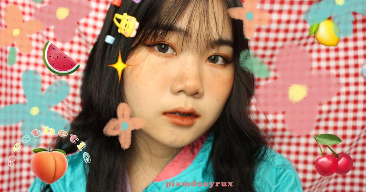 + aesthetic makeup แต่งหน้าแบบเด็กฝรั่ง ตกกระเบาๆ พาเลตจาก daiso | piamduayrux