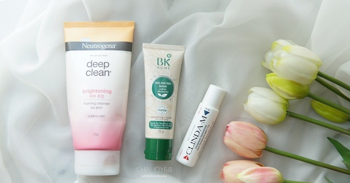 [REVIEW] 3 ขั้นตอนปราบสิวแบบเร่งด่วน ในราคาหลักร้อย ด้วย Neutrogena deep clean  // BK acne balancing mask // Clinda-M