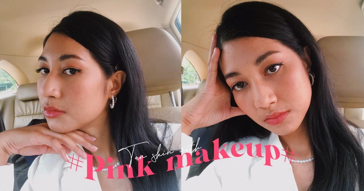 tan skin with pink makeup ><