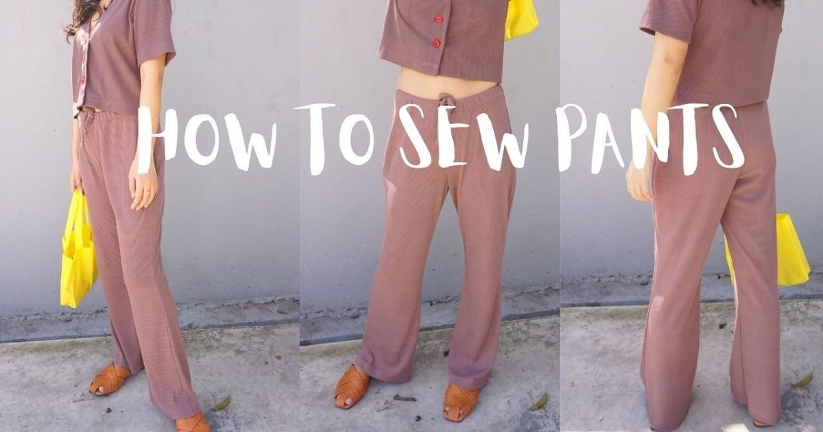 How to sewing pants    ตัดกางเกงขายาวผ้ายืดง่ายๆ ใส่สบายๆอยู่บ้าน