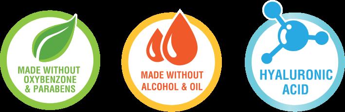 ปราศจากสารที่ก่อให้เกิดการแพ้ เช่น Parabens,Ozybenzone, Oil, Alcohol, Free Micro-plastic เหมาะกับทุกสภาพผิว