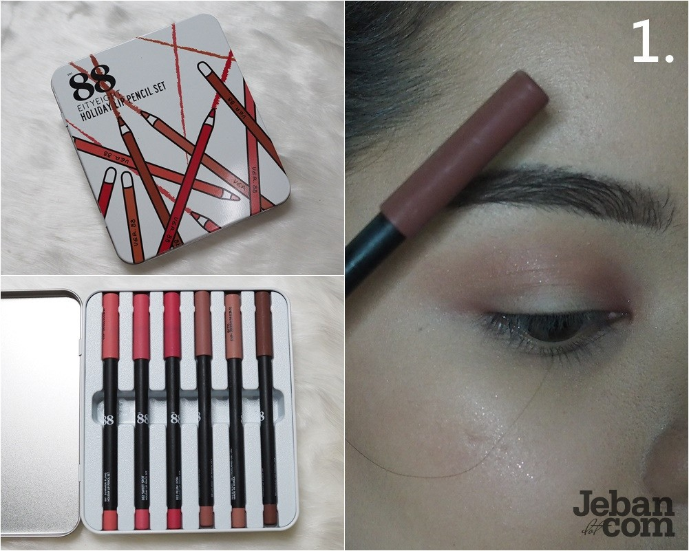 How To Eighty Eight Holiday Lip Pencil Set Ver88 Glam Shine Cream Eyeshadow Pink Copper