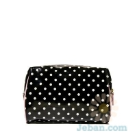Polka Dot Black Cosmetic Bag