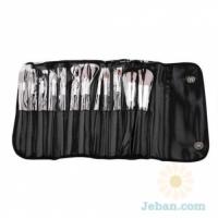 Brush Set 12 Pcs Black Leather Bag